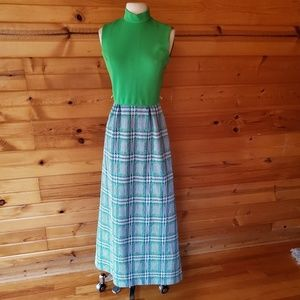1970s Great Shape Green & Blue Polyester Maxi Dres